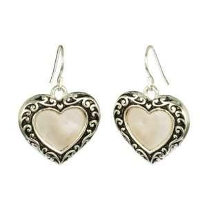 True Love Silver Tone Mother of Pearl Heart Earrings