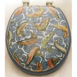 FISHING Fish Trout blue Soft TOILET SEAT Lid bathroom Home