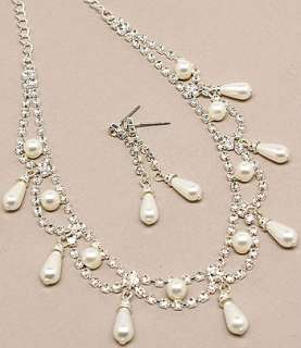 Bridal Wedding Jewelry Set Crystal Rhinestone Pearl DG