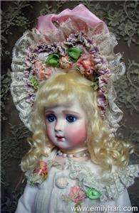 Jumeau Triste bisque Antique reproduction doll by Emily Hart dress