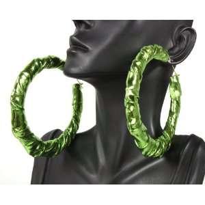 Basketball Wives Green 3.5 Inch Bamboo Hoop Earrings Lady Gaga