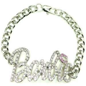 Nicki Minaj Barbie Iced Out ID Style Bracelet Silver/Pink Lips