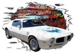 1973 White Pontiac TRANS AM Hot Rod Diner T Shirt 73