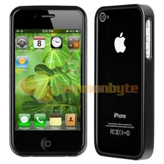 Bumper Black Shinny TPU Rubber Gel Case Cover+PRIVACY Protector for