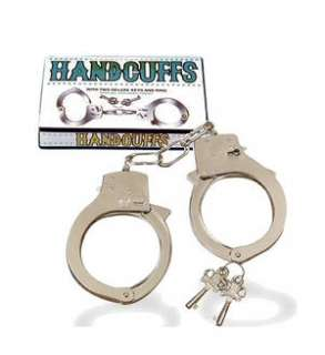 Handcuffs Cuffs Toy Chrome Plated Metal Chain 2 Keys