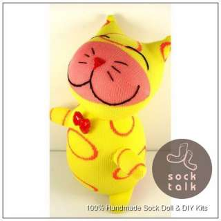 Handmade Yellow Sock Monkey Cat Stuffed Animals Doll Baby Toy