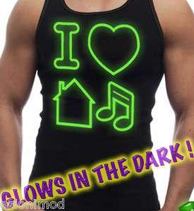 Mens Tank Top I LOVE HOUSE MUSIC Glow In The Dark Neon Green techno