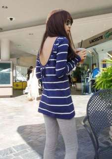 Vintage Women Navy Blue Stripe Backless Shirt Tank tops