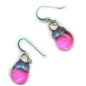 Artisan Fused Art Glass Earrings   Sparkling Blue Dichroic, Pink Glass