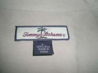 EXCELLENT RARE TOMMY BAHAMA EMBROIDERED HARLEY DAVIDSON TAN BROWN SILK