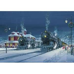 Winter Train Station Scene Christmas Card