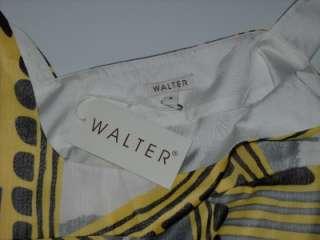 NWT Walter Baker Yellow / Grey Ethnic Print Chiffon Dress 6 $238