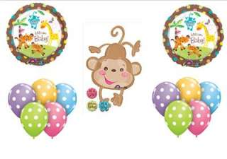 WELCOME BABY SHOWER BALLOONS MONKEY DECORATIONS boy girl Jungle zoo