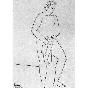 24 x 34 inches   Mujer desnuda de pie con una toalla: Home & Kitchen