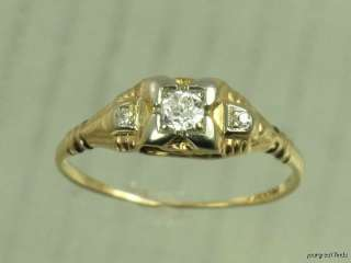 ANTIQUE 14K YELLOW GOLD & GENUINE WHITE OLD EUROPEAN CUT DIAMOND