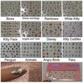 UK*GLITTER HELLO KITTY/DISNEY NAIL STICKERS/ART/TIP LADIES/KIDS