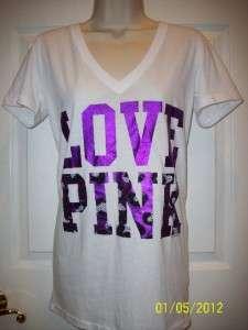 NWT VICTORIAS SECRET LOVE PINK LEOPARD BLING T SHIRT  WHITE  MEDIUM