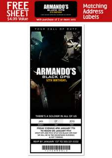 CALL OF DUTY BLACK OPS Birthday TICKET INVITATION