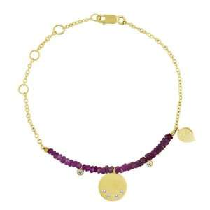 Solid 14K Yellow Gold Ruby Beads & Bezel Set Diamonds Chain Bracelet