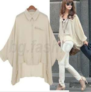 Ladies Chiffon Bat wing Shirt Asym Hem Blouse 2 colours