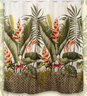 Leaf Banana Hawaiian Quilt Print Bathroom Fabric Shower Curtain