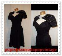 Vintage 80s Rhinestone Mini Peep Hole Party Dress B36