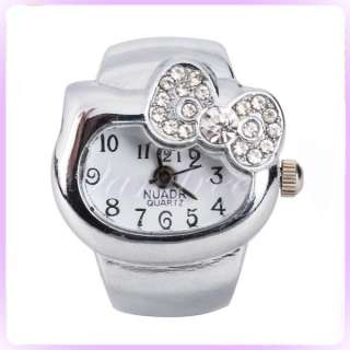 rhinestones bowknot Finger Ring Watch Ladies Fashion cute gift