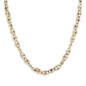 New 14k Solid Gold Bead Open Link Chain Necklace: Jewelry