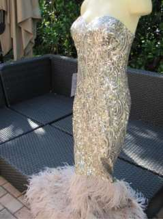 BEBE DRESS feather Dress small 187256 isis sequin