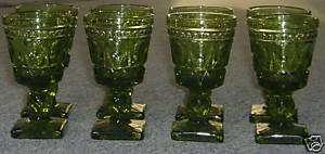 Set 8 Green 2oz Wine Goblets Ball Stem Square Base Nice