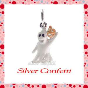 Silver WHITE GHOST with PUMPKIN Halloween Spooky Boo CHARM or PENDANT