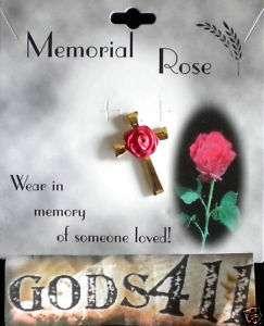 Memorial Red Rose Gold Cross Lapel Pin   Wear in Memory