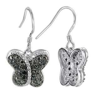Sterling Silver Clear and Black Cubic Zirconia Frech Hook Findings