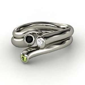 White Sapphire 14K White Gold Ring with Black Onyx & Green Tourmaline