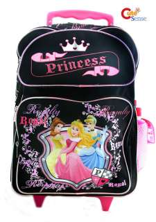 Disney Princess School Roller Backpack /Rolling Bag Large Black