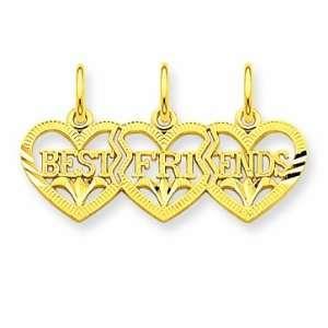 14k Triple Heart D/C Best Friends Break Apart Pendant