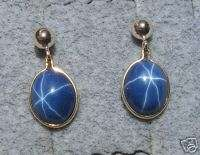 10X8MM LINDE BLUE STAR SAPPHIRE CREATED GF EARRINGS