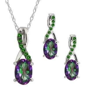 Oval Green Mystic Topaz Gemstone Sterling Silver Pendant Earrings Set