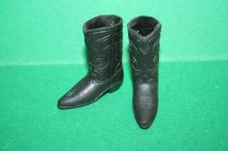 Vintage Big Jim shoes For figure WESTERN BOOTS Black