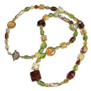 The Black Cat Jewellery Store Boho Style Long Brown & Green Mixed Bead