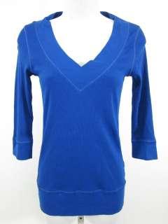 TEE SHOP Blue V Neck Ribbed Long Sleeve Shirt Top Sz S