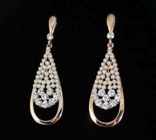 TEAR DROP AUSTRIAN CRYSTAL RHINESTONE PEARL EARRINGS CHANDELIER GOLD