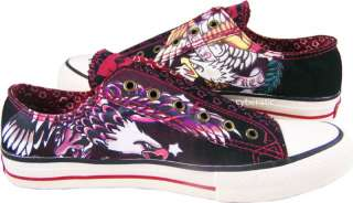 Mens Ed Hardy Lowrise Eagles Born Free Black Red Shoes