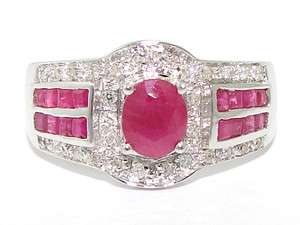 Estate 14kt White Gold 1ct Ruby Diamond Cluster Band Ring