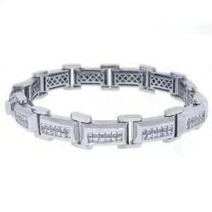18k White Gold Mens Square Cut Invisible Diamond Bracelet