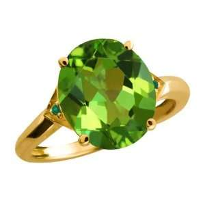 81 Ct Oval Envy Green Mystic Quartz and Diamond Gold Plated Silver