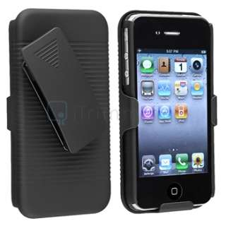 Black Slide Case with Belt Clip Swivel Holster Stand for iPhone 4 4G