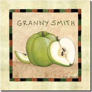 Granny Smith Apple by Donna Jensen   Fruit Ceramic Accent Tile 8 x 8