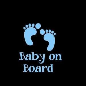 Baby on Board Feet Car Window Decal Sticker Boy Blue 5 Automotive