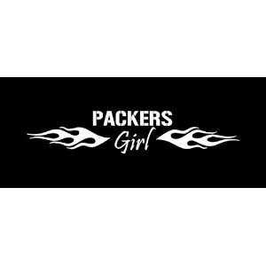 Green Bay Packers Girl Flames Car Window Decal Sticker